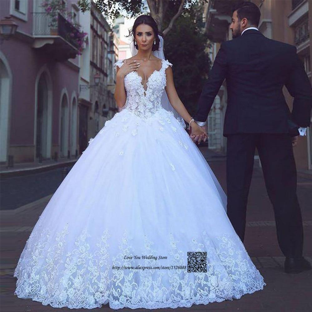 Princess Arabic Wedding Dresses Turkey Vintage Lace Wedding Gowns Flower Ball Gown Bride Dresses