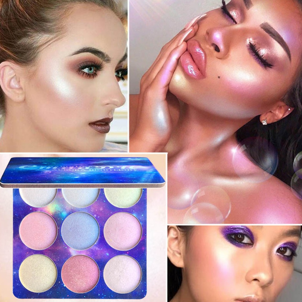 9Colors Highlighter Illuminator Makeup Face Brighten Contouring Cosmetics Highlighter Powder Palette Bronzer Face Glow Kit