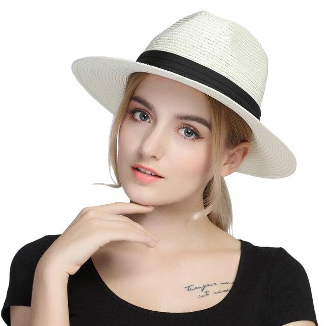 99cfec8b27650 D'été De Paille Floppy Large Bord Femmes Panama Soleil Chapeau Pour Dame  Élégante Chapeu