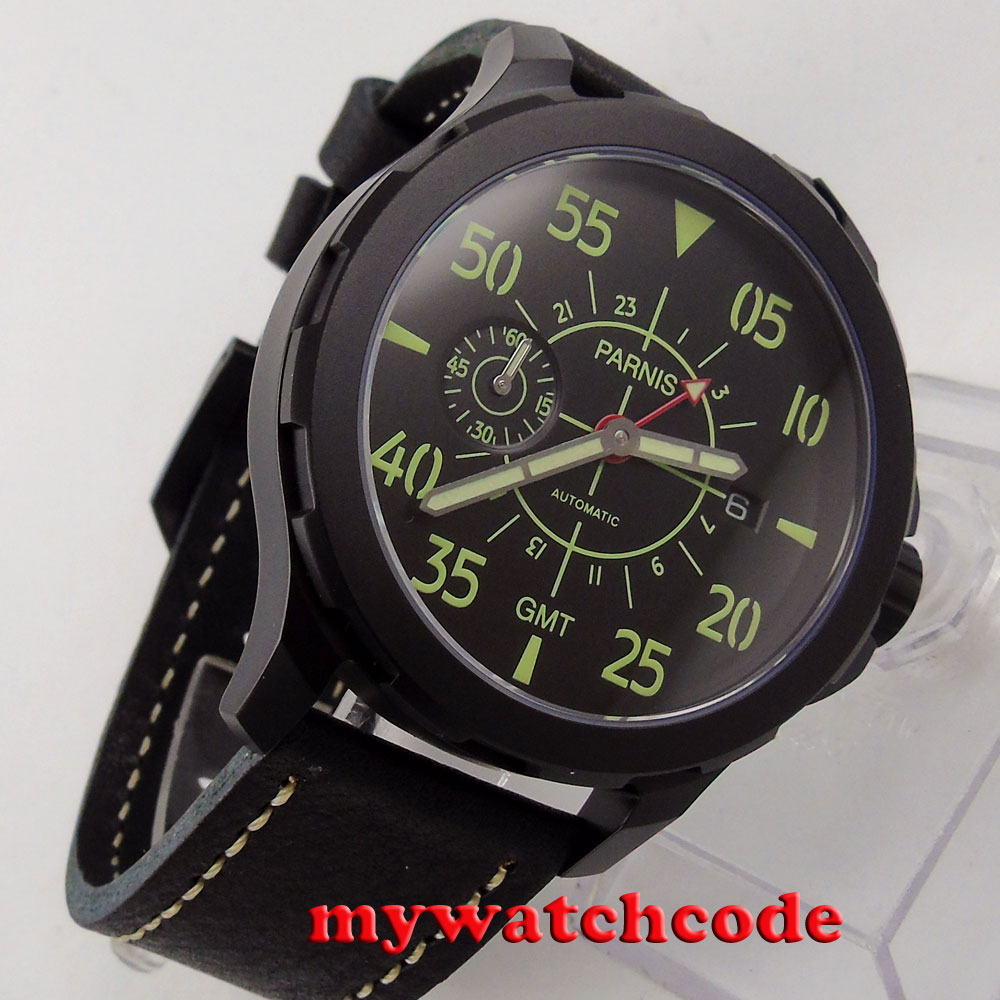 44mm Parnis PVD case black dial red GMT Sapphire glass ST Automatic Mens Watch P777 цена и фото