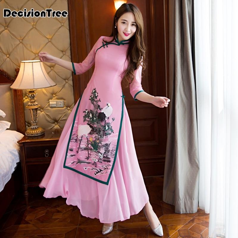 2017 sommar ao dai cheongsam folk stil vietnam robes brett ben byxor - Nationella kläder