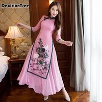 2019 summer ao dai cheongsam folk style vietnam chiffon aodai graceful stand collar elegant Women Chinese Traditional Dress