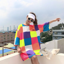 Focal20 Summer Hit Color Rainbow Plaid Women T-shirt Half Sleeve Casual Loose T Shirt Female Tee Top Streetwear(China)