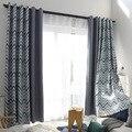 Европейский и американский стиль Зигзаг Дизайн полоса затенение печатных шторы для гостиной спальни оконные процедуры