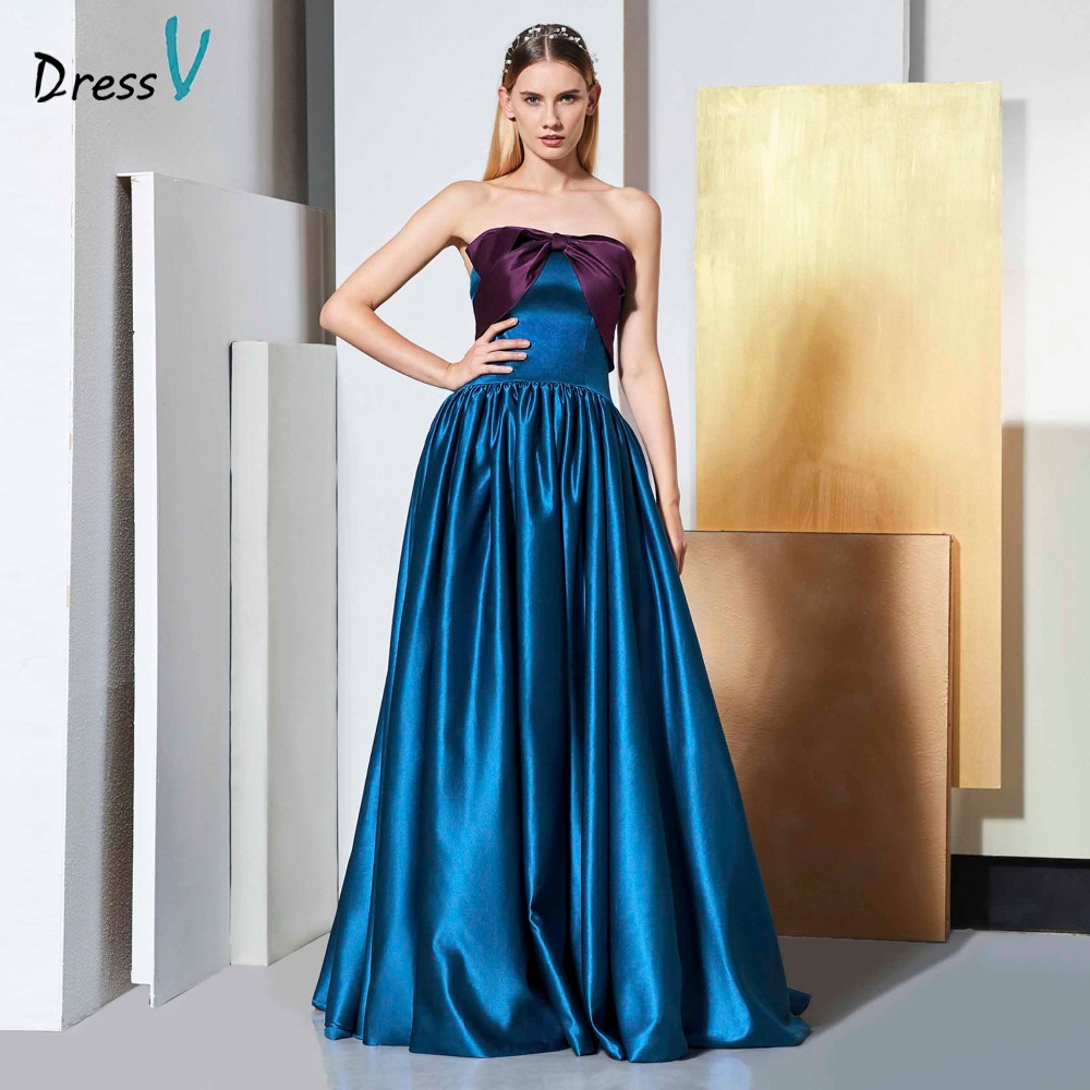 Dressv Elegant Evening Dress Strapless Sleeveless A Line Matte Satin Floor-length Wedding Party Formal Dress Evening Dresses