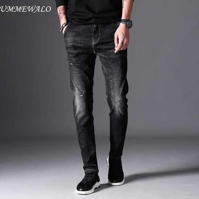 6a4330038cb0a UMMEWALO siyah Skinny Jeans erkek kış sonbahar streç Denim kot adam elastik rahat  ince Jean pantolon