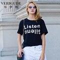 Veri Gude carta de impressão t-shirt mulheres verão estilo europeu O pescoço solto t-shirt de algodão