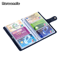 Rusoonnic Business Card Holder High Capacity Credit Card Holders Split Leather Fashion Women Wallet Hasp Men ID Bag Cardholder