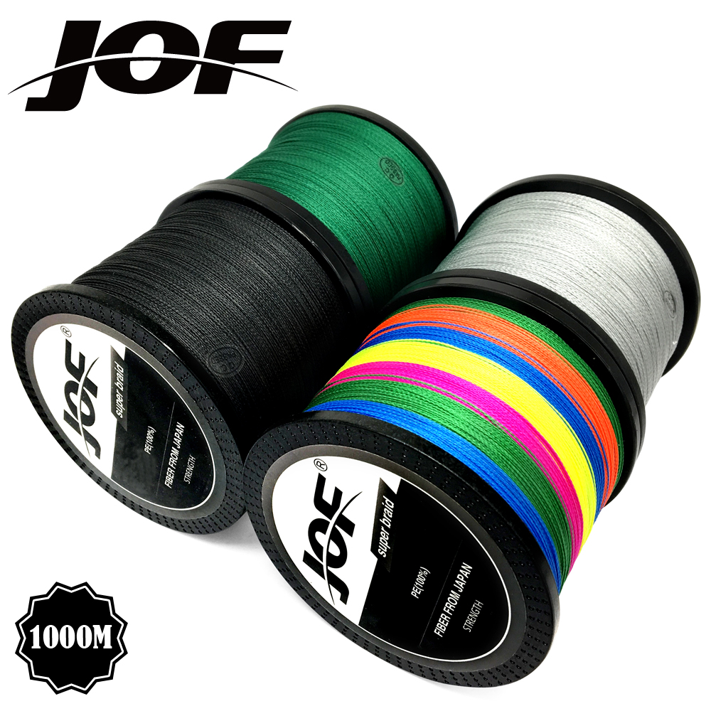 JOF Marke angelschnur 1000M PE Multifilament Geflochtene Fisch Linie 4 Stränge 10lb-80lb Karpfen Angeln Seil Schnur angelgerät