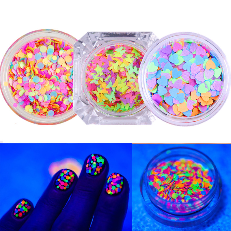 1 Box Fluorescent Nail Sequins Ultra-thin Colorful Glitter Flakies Heart Butterfly Round Star Shape Manicure Nail Paillette holographic marquise nail flakies sequins multicolor diy glitter paillette manicure nail art decoration
