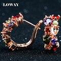 LOWAY flor zircão cúbico 18 K Rose banhado a ouro Brincos para mulheres bijuteria ED2905