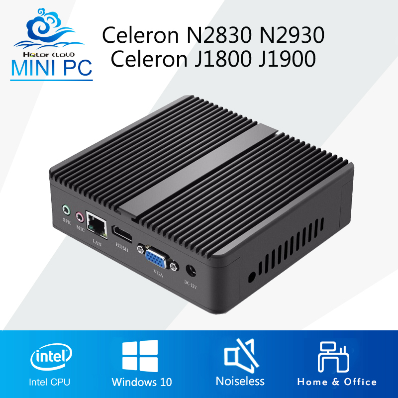 Mini PC Windows 10 Intel Celeron 1900 N2930 Quad Core Mini Computer Celeron N2830 J1800 Desktop Computer Fanless HDMI VGA WIFI недорго, оригинальная цена
