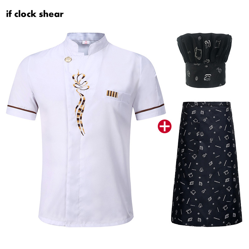 Short Sleeved Chef Restaurant Uniforms Hotel Kitchen Chef Clothes Breathable Jacket+Hat+Apron Uniform Men And Women Cooker Shirt