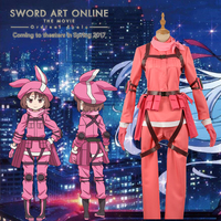 Sword Art Online Alternative Gun Gale Online Kohiruimaki Karen Llenn Pink Lovely Clothing Uniform Outfit Cosplay Costume + Hat