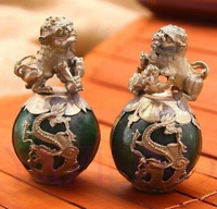 Copper Brass CHINESE crafts Asian A Pair of Green Jade Ball Inlaid with Tibetan Silver Dragon Phoenix Lion Figurines