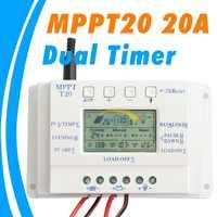 MPPT 20A Solar Panel Controller 12V 24V Solar Controller Dual Timer Function for PV lighting System LED T 20 Solar Regulator