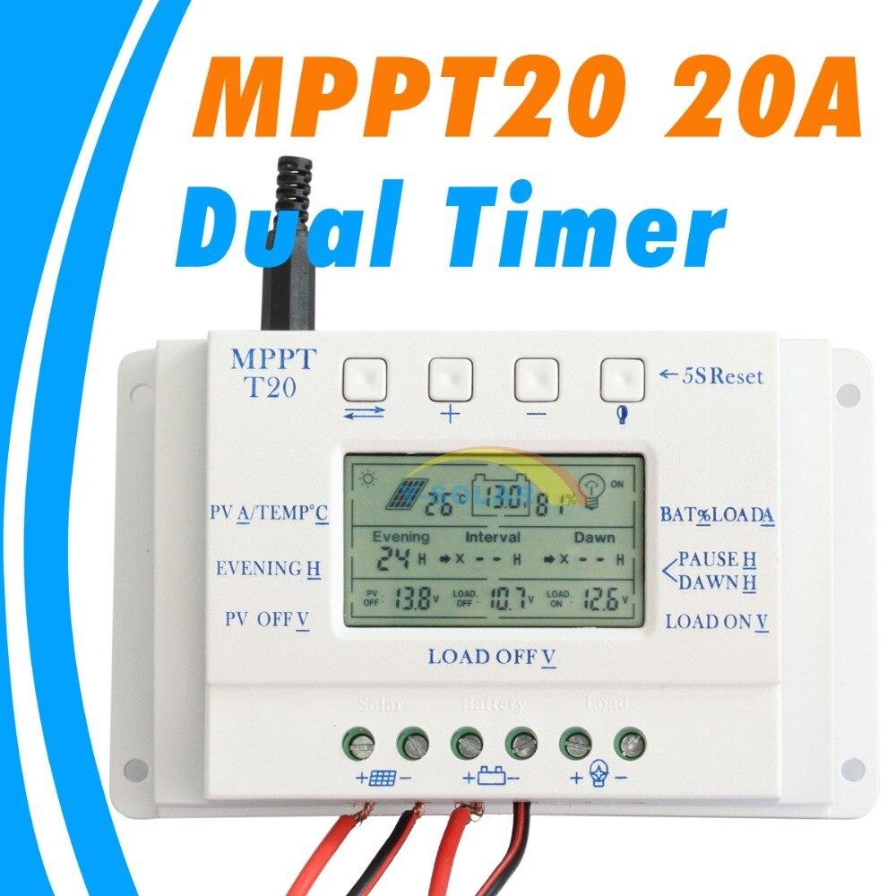 Mppt 20a controlador do painel solar 12 v 24 v função temporizador duplo para o sistema de iluminação fotovoltaica led t 20 regulador solar