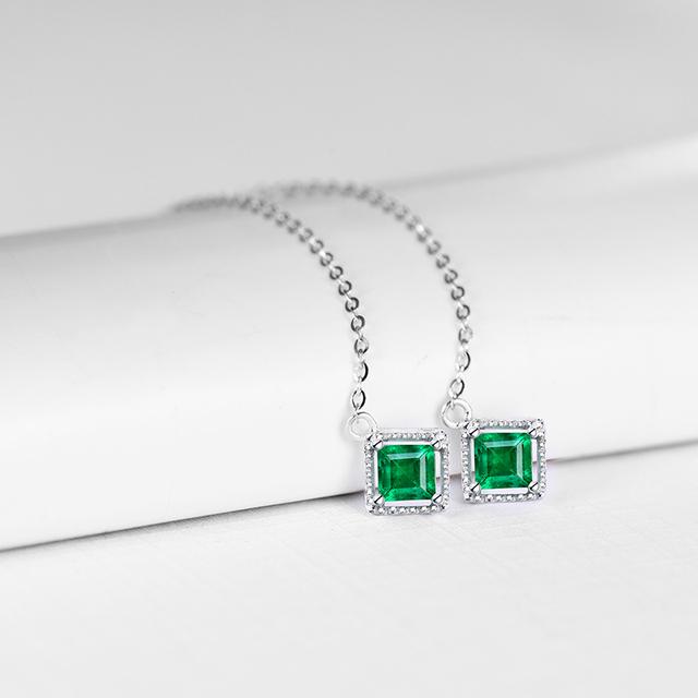 Loverjewelry Plain Design Jewelry Solid 18K White God Natural Emerald Drop Earring for Elegant Ladies Loving Gift