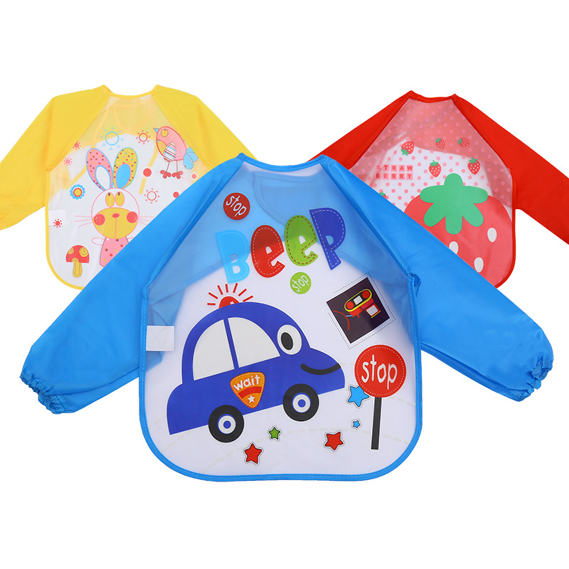 Baby Kids Bibs Apron Waterproof Eva Kids Feeding Burp Cloths with Long Sleeve UK
