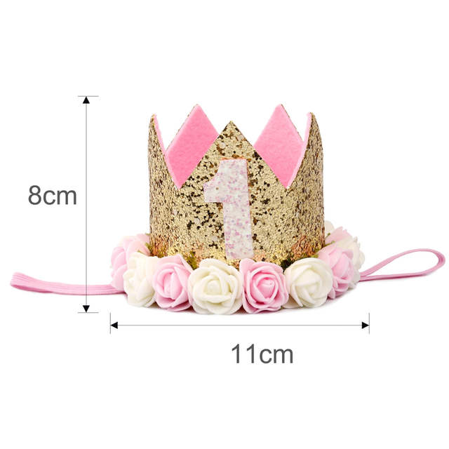 Placeholder Happy First Birthday Party Hats Decor Cap One Hat Princess Crown 1st 2nd 3rd Year