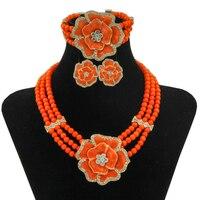 Liffly Châu Âu Cổ Điển Orange Blue Red Rose Jewelry Set Wedding Party Thời Trang Hạt Phụ Nữ Thiết Kế của Trang Sức Set
