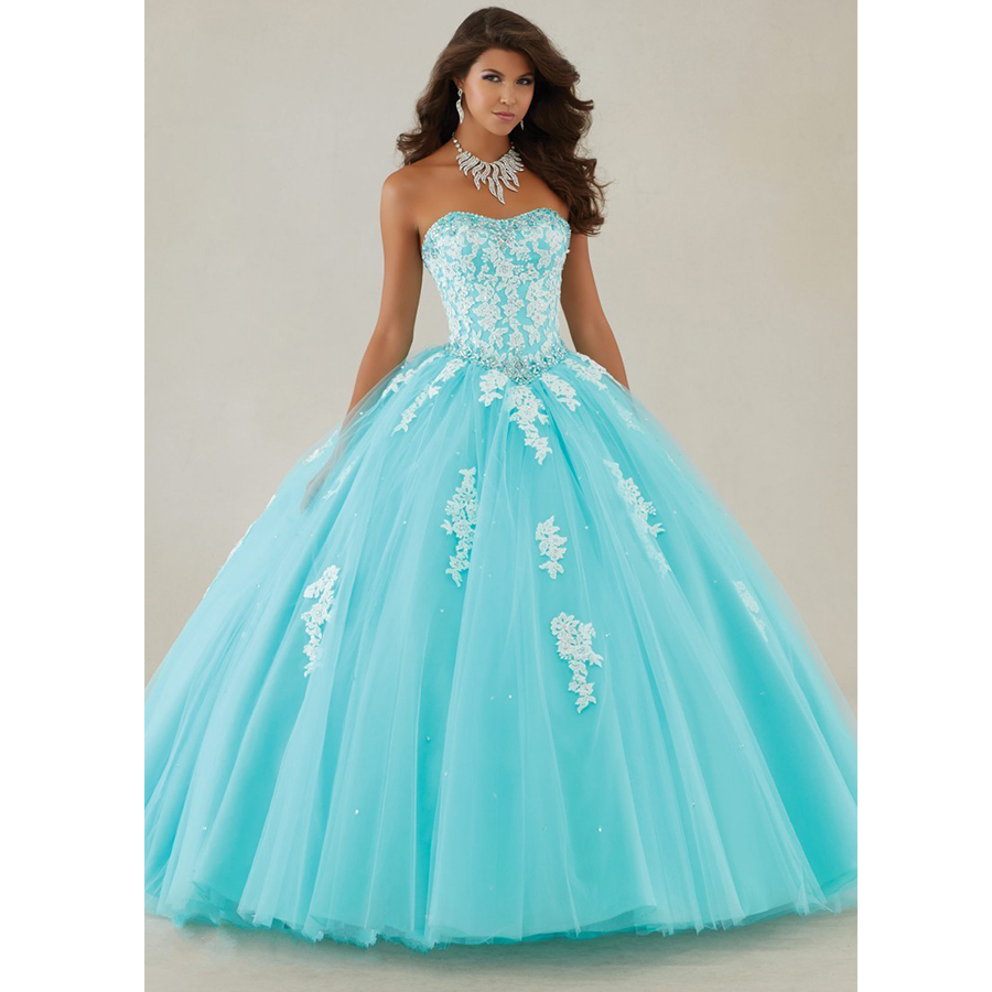 Masquerade Ball Gowns Plus Size Vestidos De 15 Anos Appliques Crystals Ice Blue Quinceanera Dresses 2017 New Q12-in Quinceanera Dresses from Weddings ...