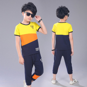Active Teen Boys Clothing Sets Summer Cotton Child Tracksuit 2 Pcs Casual Letter Patchwork Tshirt Pants Kids Clothes Sports Suit 3