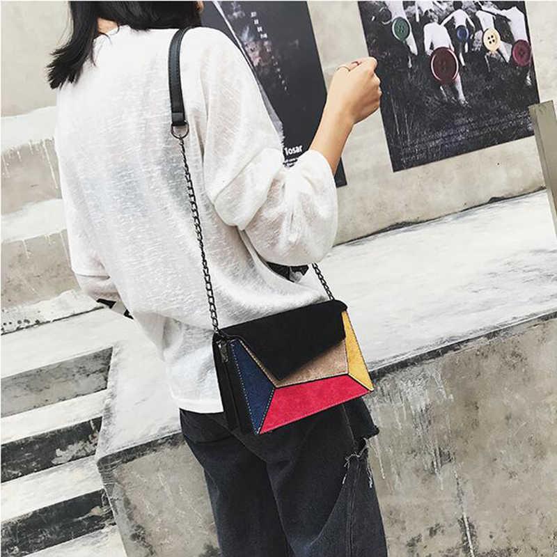 SMOOZA moda calidad cuero Patchwork mujer bolsa de mensajero correa de cadena femenina bolso de hombro pequeña cruz de mujer bolsa de solapa