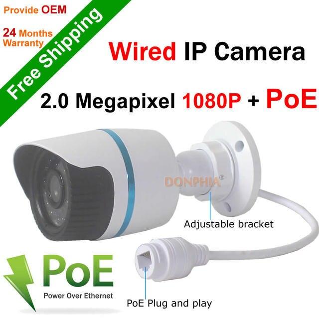 Бесплатная доставка! Full HD 1920*1080 P 2-МЕГАПИКСЕЛЬНАЯ ONVIF 2.0 Водонепроницаемые ИК CUT Ночного Видения Подключи и Играй Мини Пуля POE, Ip-камера