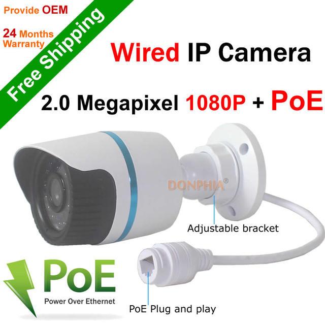 El envío gratuito! Full HD 1920*1080 P 2MP ONVIF 2.0 Impermeable Al Aire Libre IR CUT Visión Nocturna Plug and Play Mini Bala Cámara del IP del POE