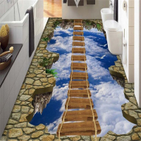Walkway Exhibition Hall Living Room Sky Wooden Bridge 3D Floor Tiles Painting 3d Waterproof Self Adhesive