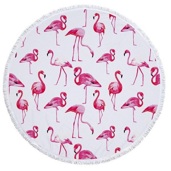 2018 Nieuwe Flamingo Microfiber Ronde Strandlaken Met Kwastje Bohemian Grote Strand Handdoeken Deken Picknick Yoga Mat Boho Tafelkleed