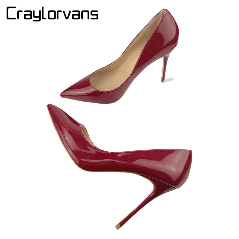 Craylorvans burgundy Women Shoes High Heels Stiletto 10CM Sexy Woman High Heels Patent Leather Pointed Toe Women Pumps hee grand sweet patent leather women oxfords shoes for spring pointed toe platform low heels pumps brogue shoes woman xwd6447
