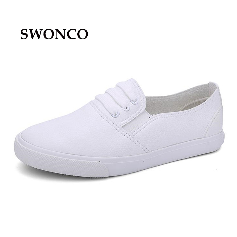 SWONCO Women's Flats White Shoes Genuine Leather Slip On Women Sneakers Casual Shoes Woman 2018 Platform Breathable Ladies Shoe