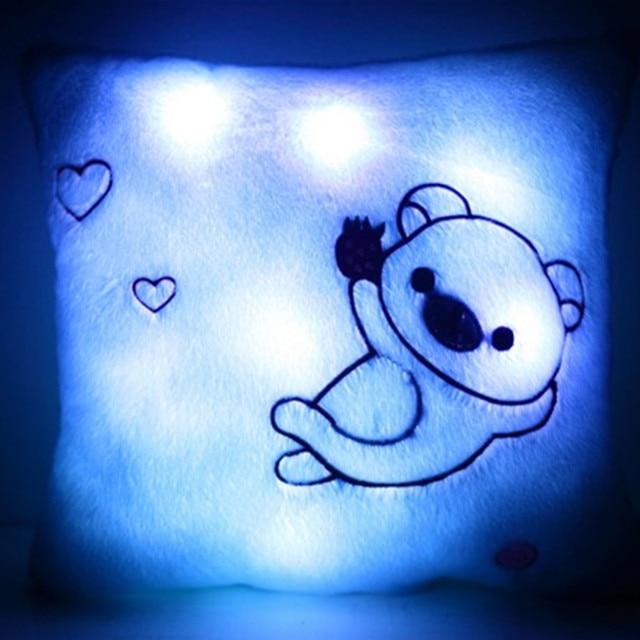 Мигающий квадрат Подушка Дети СВЕТОДИОДНЫЕ Диван Подушка Световой Кукла Медведя Плюшевые Игрушки Подарок Для Детей 35 см