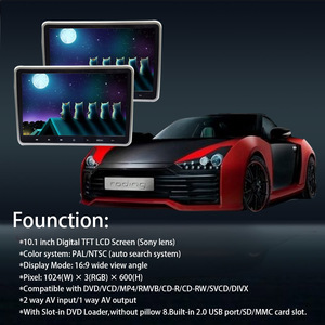Image 5 - 1/2 Stuks 10.1 Inch Auto Hoofdsteun Monitor Dvd Video Speler Usb/Sd/Hdmi/Ir/ fm Tft Lcd scherm Touch Button Game Afstandsbediening Stereo