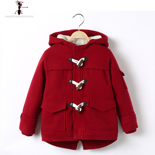Boys Fashion Woolen Fur Inside Hooded Single Breasted Cotton Solid Wool Coat Kids Manteau Fille 2527