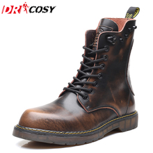 Winter Vintage Genuine Leather Martin Boots Men's Lace-up Breathable Warm Increased Motorcycle Boots Ankle Botas Plus Size 38-47
