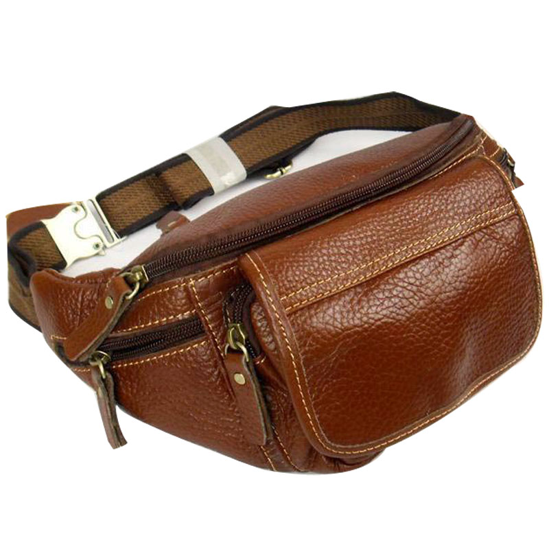Genuine Leather Male Big Capacity Waist Pack Internality Multifunctional ' 7 Of Flat  Mobile Phone Bag Chest Pack