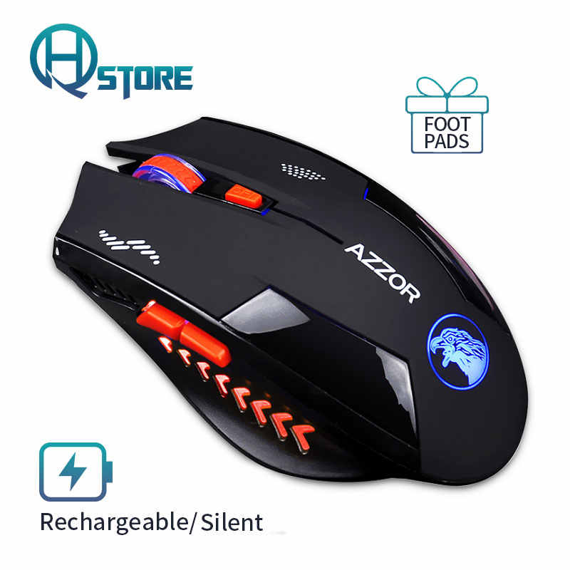 Mouse Optik Nirkabel Mouse Gaming Diam USB Rechargeable 2400 Dpi Built-In Baterai untuk PC Laptop Komputer Tak Bersuara