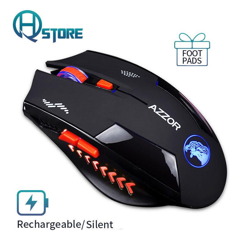 Noiseless Wireless Mouse Optical Mouse Gaming Silent usb rechargeable Mice 2400dpi Built-in Battery For PC Laptop Computer rechargeable wireless mouse 2 4g 2400 dpi slient button gaming mouse built in battery with charging cable for pc laptop computer