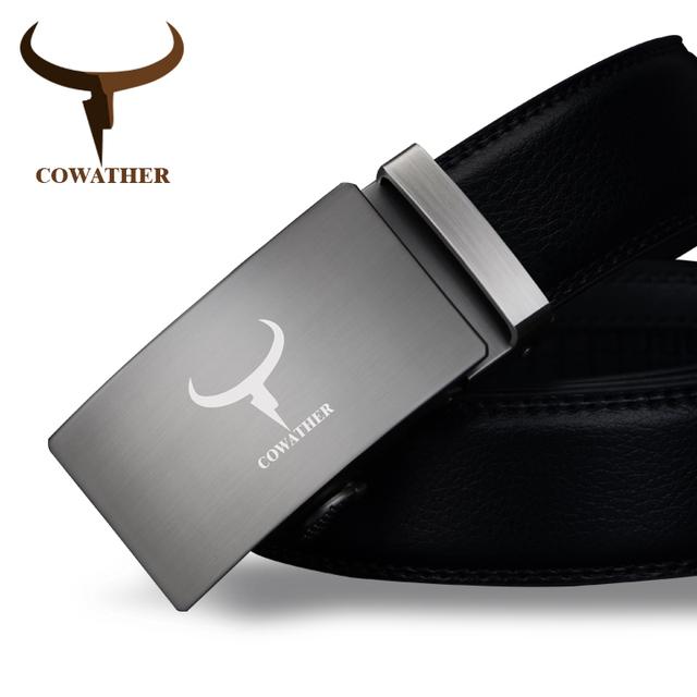 Cowather superior calidad de la vaca de la manera hombres del cuero genuino cinturones automáticos hebilla de correa de la cintura enemigo hombres cinturones hombre envío libre