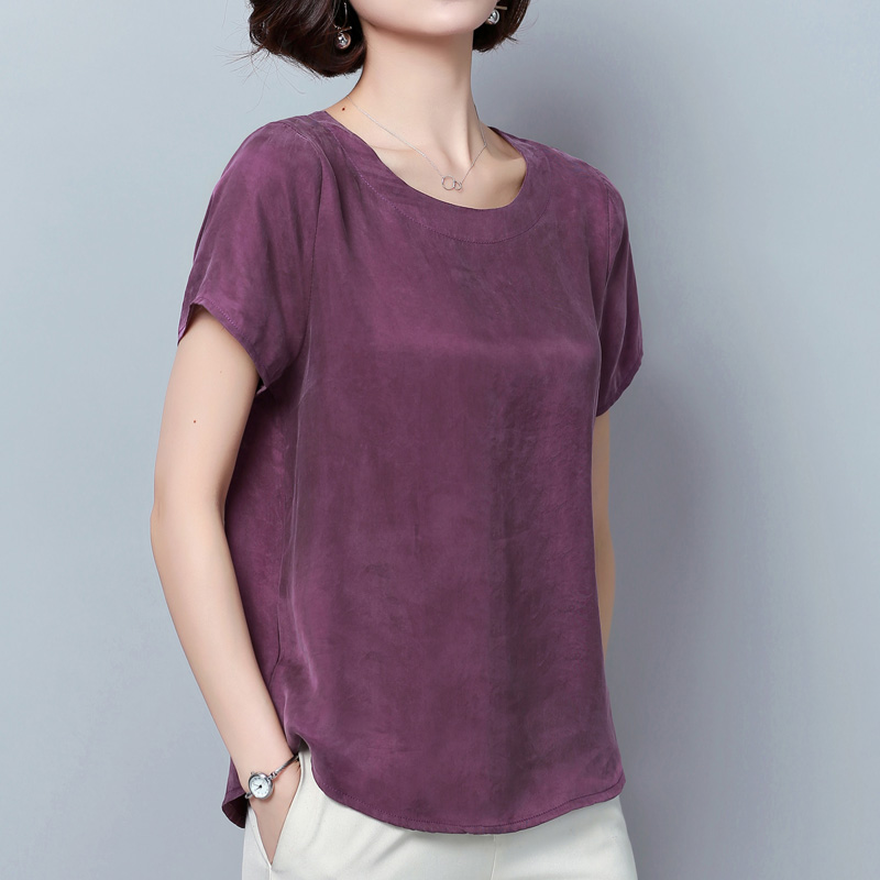 2019 Summer casual loose half sleeve O neck 4XL blouses women big size Cupro silk blouses shirts lady Monther's silk tops