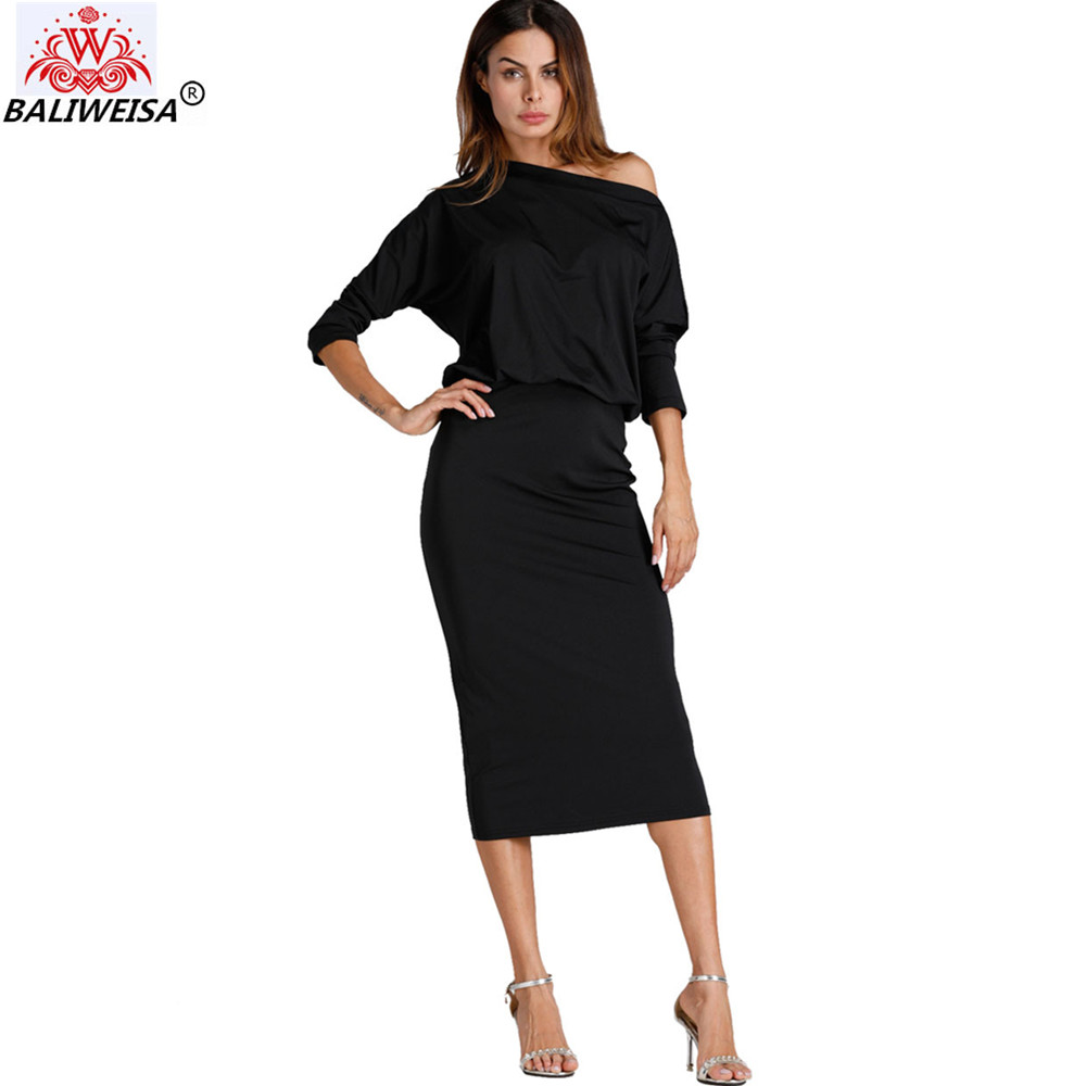 BALIWEISA Elegant Solid Color OL Work Pencil Long Dress Women Sexy One Shoulders Batwing Sleeve Dress Party Club Bodycon Dress