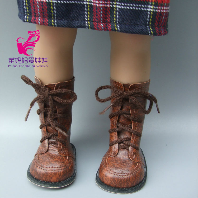 Lace Up PU Martin leather Boots Shoes for 18 45CM American Girls Dolls, shoes Alexander doll accessory