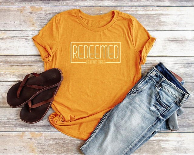 Redeemed Christian T Shirts for Women Relaxed Fit Redeemed slogan Women  Bible Verse Shirts Women Jesus 56342cd98da8
