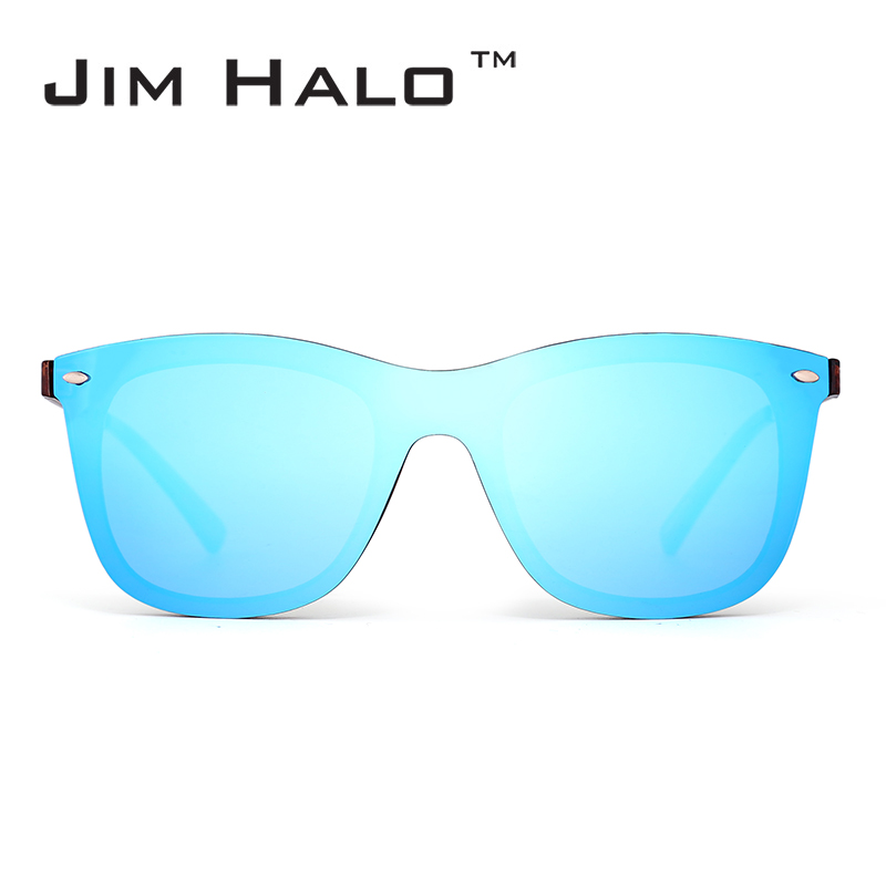 Jim Halo Fashion Rimless Frame Integrated Mirrored Lens Men Women Sunglasses One Piece Oculos Retro Frameless Sun Glasses