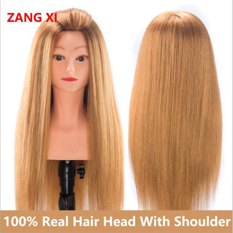 100% Real Hair Mannequins For Sale High Grade Professional Dolls Head For Salon Female Hairdresser Mannequin Head With Shoulder