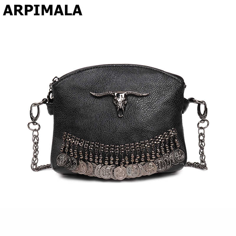 ae3902493d6a ARPIMALA Fringe Vintage Clutch Women Leather Handbags Designer Boho Hand Bag  Small Tassel Stud Women Messenger