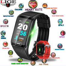 LIGE New IP67 Waterproof Social Information Remind Heart Rate Monitor Smart Sports watch  Fashion Smart Bracelet for Android ios